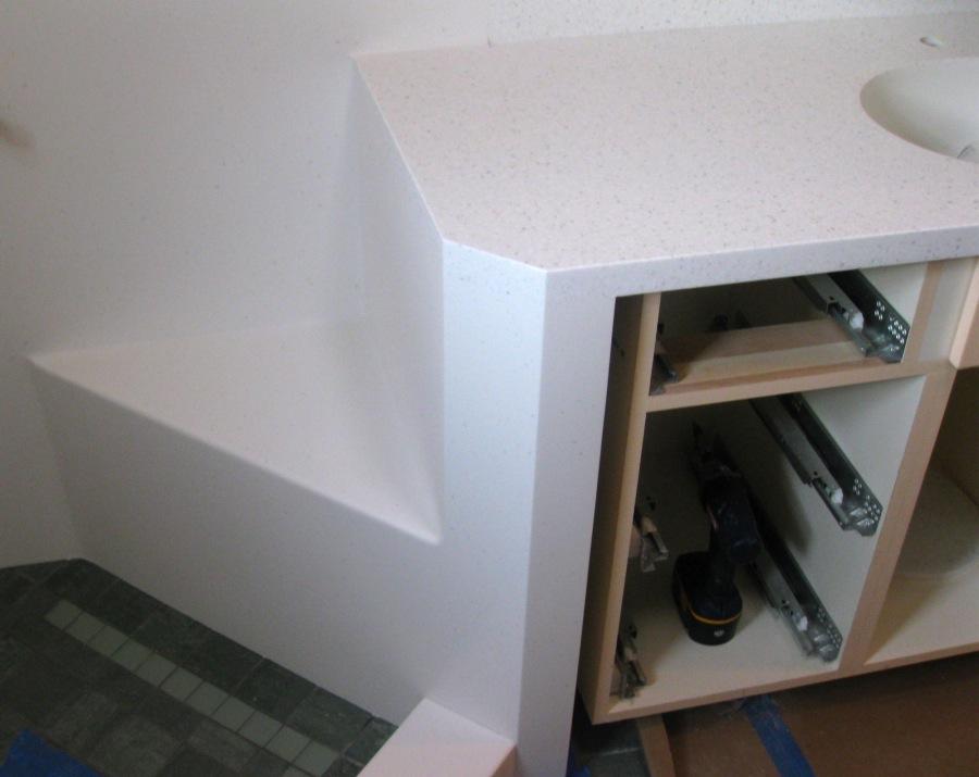 Corian-one-piece-shower-seat-vanity-top - DELTA PLASTICS